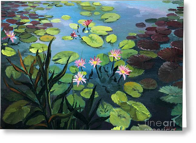 Lotus Flowers  Greeting Card by Kiril Stanchev