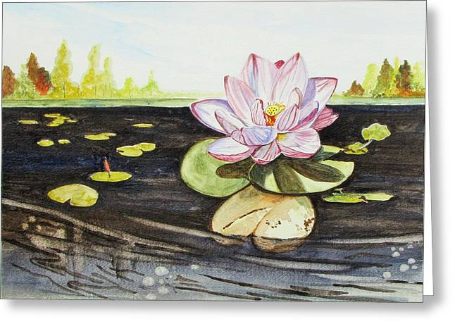 Greeting Card featuring the painting Lotus Fun by Kevin F Heuman