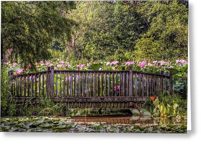 Greeting Card featuring the photograph Lotus Garden Pond And Bridge by Jerry Gammon