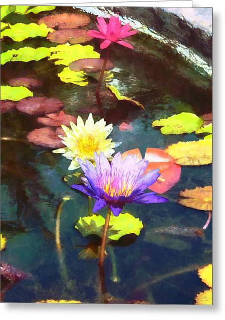 Water Gardens Greeting Cards - Lotus Pond Greeting Card by Susan Savad