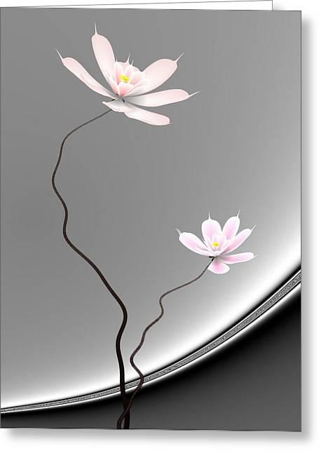 Lotus Twins Greeting Card by GuoJun Pan