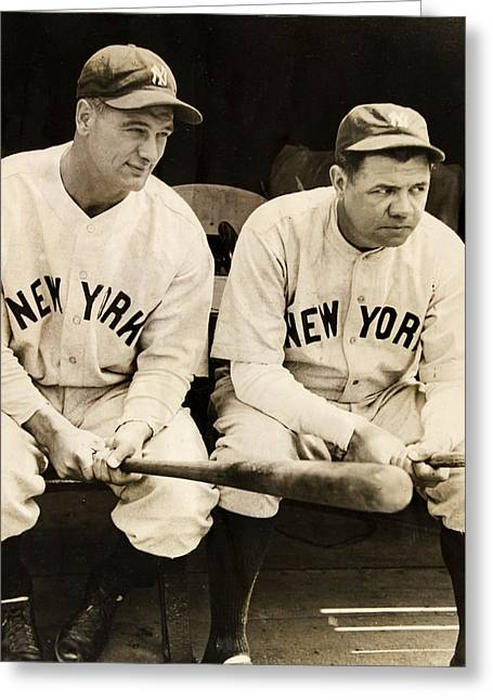 Lou Gehrig And Babe Ruth Greeting Card by Bill Cannon
