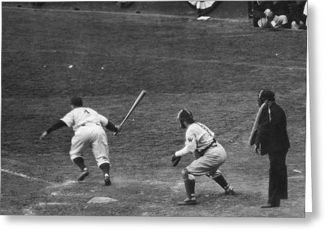 Lou Gehrig Gets A Hit Greeting Card by Underwood Archives
