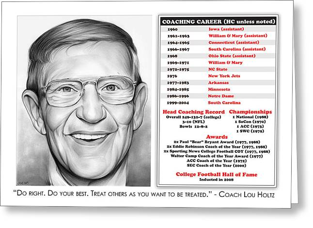 Lou Holtz Greeting Card by Greg Joens