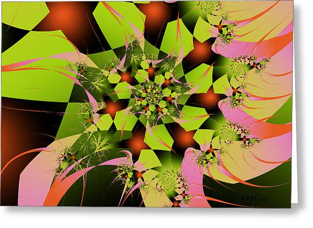 Greeting Card featuring the digital art Loud Bouquet by Elizabeth McTaggart