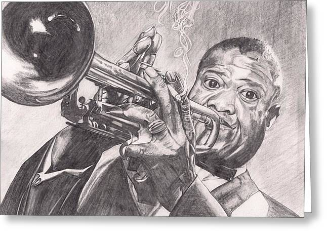Louie Armstrong Greeting Card by Beverly Marshall