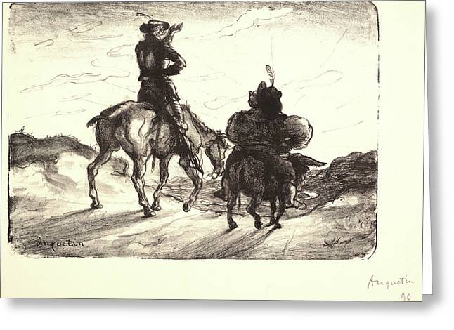 Louis Anquetin French, 1861 - 1932. Don Quixote And Sancho Greeting Card by Litz Collection
