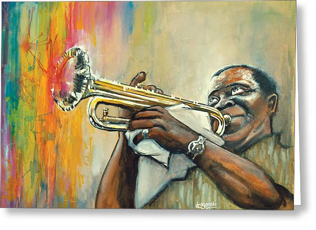 Louis Armstrong Greeting Card by Edward Draganski