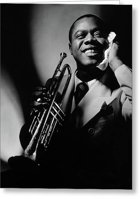 Louis Armstrong Holding A Trumpet Greeting Card by Anton Bruehl