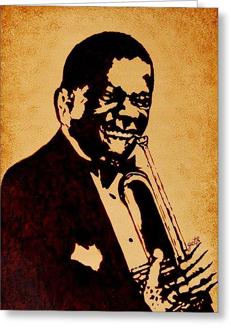 Louis Armstrong Original Coffee Painting Art Greeting Card by Georgeta  Blanaru