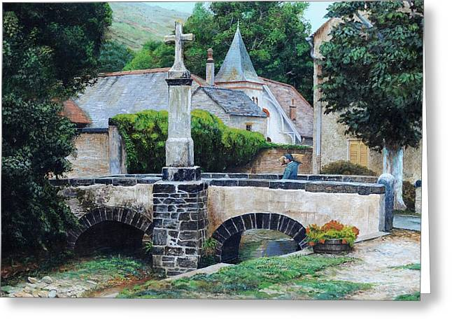 Louis Ocres, France, 1999 Oil On Canvas Greeting Card by Trevor Neal