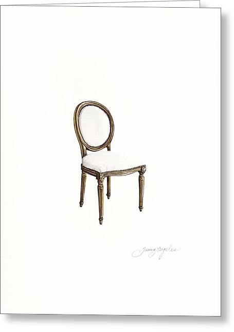 Louis Style Chair Greeting Card by Jazmin Angeles