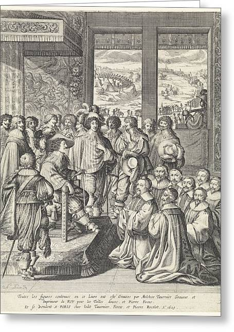 Louis Xiii Receives A Delegation Of Merchants From Paris Greeting Card by Quint Lox