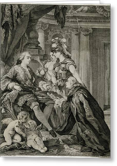 Louis Xv             Accepts Greeting Card by Mary Evans Picture Library