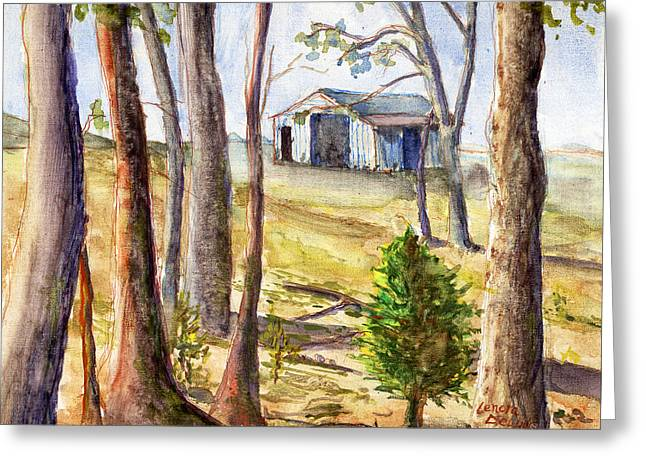 Greeting Card featuring the painting Louisiana Barn Through The Trees by Lenora  De Lude