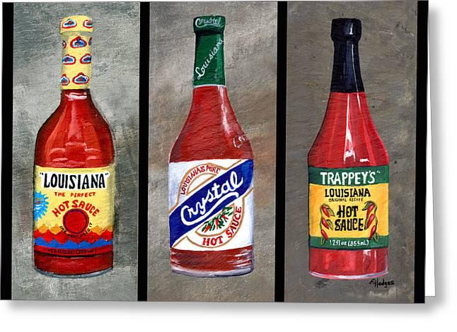 Louisiana Hot Sauce Trio Greeting Card by Elaine Hodges