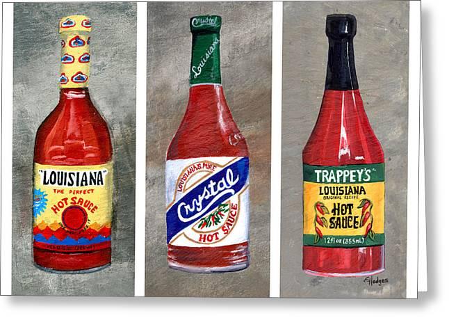 Louisiana Hot Sauce Trio White Greeting Card by Elaine Hodges
