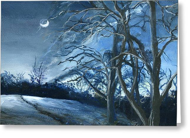 Greeting Card featuring the painting Louisiana Pasture In Winter by Lenora  De Lude