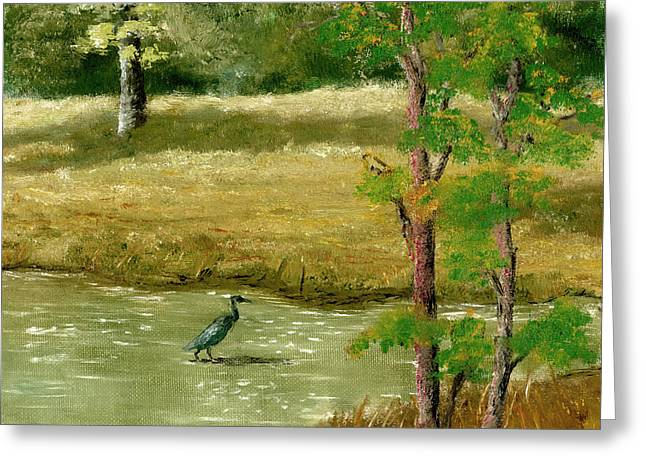 Greeting Card featuring the painting Louisiana Pond With Heron by Lenora  De Lude