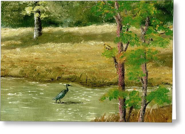 Louisiana Pond With Heron Greeting Card