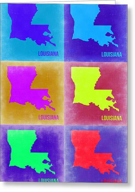 Louisiana Pop Art Map 2 Greeting Card by Naxart Studio