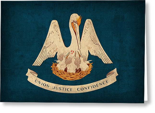 Louisiana State Flag Art On Worn Canvas Greeting Card by Design Turnpike