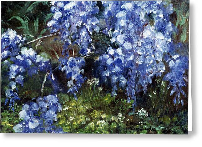 Greeting Card featuring the painting Louisiana Wisteria by Lenora  De Lude