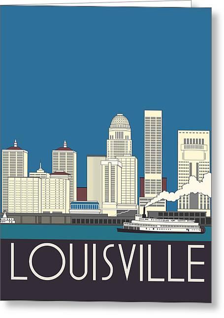 Louisville Art Deco Skyline Greeting Card by Josef Spalenka