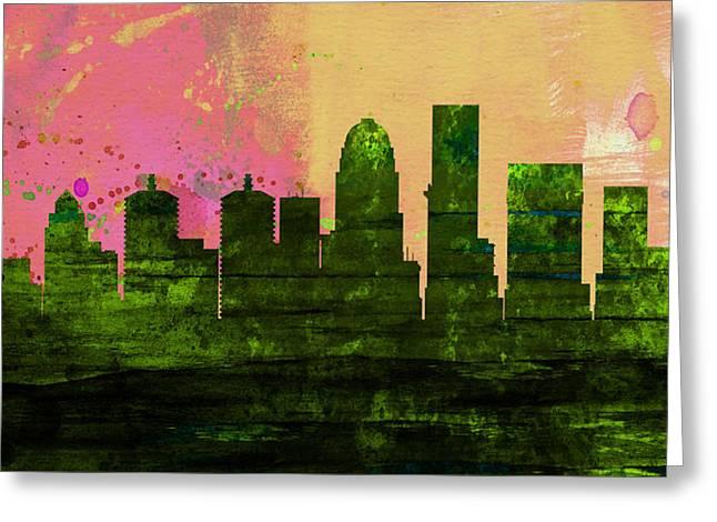 Louisville City Skyline Greeting Card by Naxart Studio