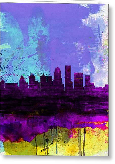 Louisville Watercolor Skyline Greeting Card by Naxart Studio
