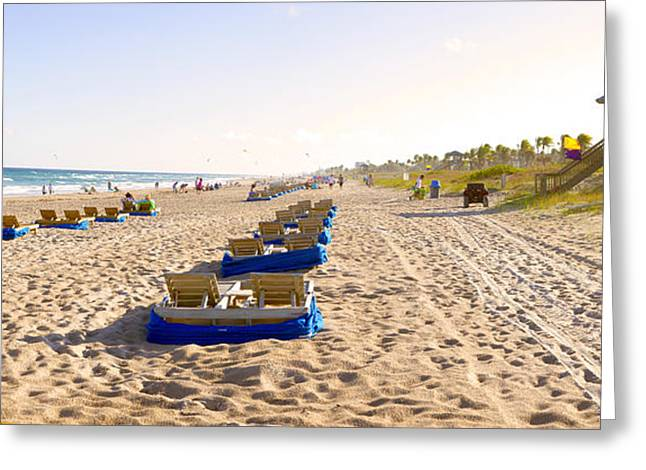 Lounge Chairs And Lifeguard Hut Greeting Card by Panoramic Images