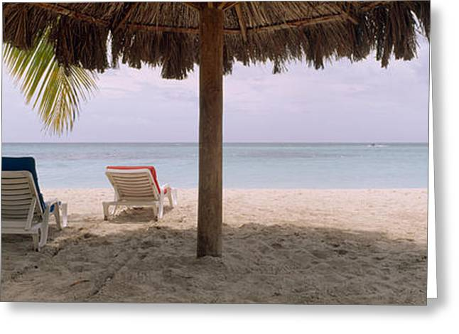 Lounge Chairs On 7-mile Beach, Negril Greeting Card