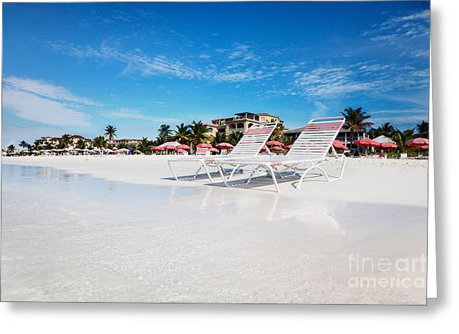 Lounge Chairs On Grace Bay Beach Greeting Card by Jo Ann Snover