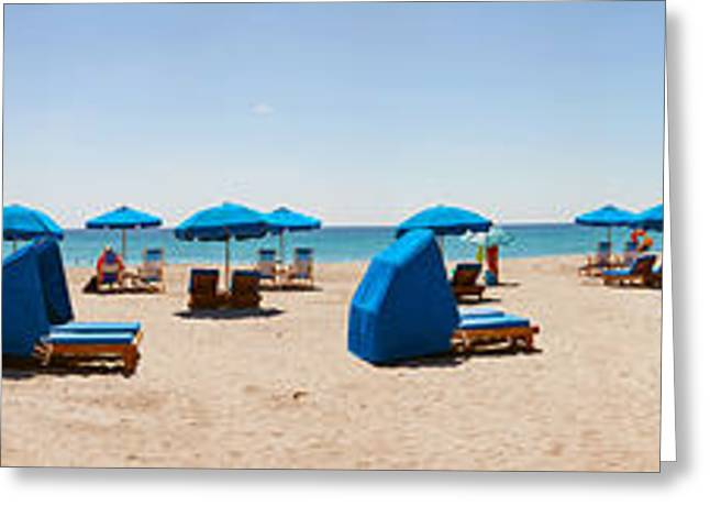 Lounge Chairs On The Beach, Delray Greeting Card by Panoramic Images