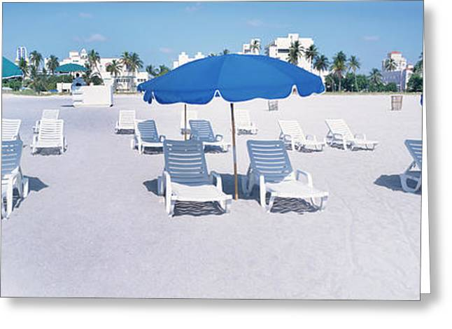 Lounge Chairs On The Beach, South Greeting Card by Panoramic Images