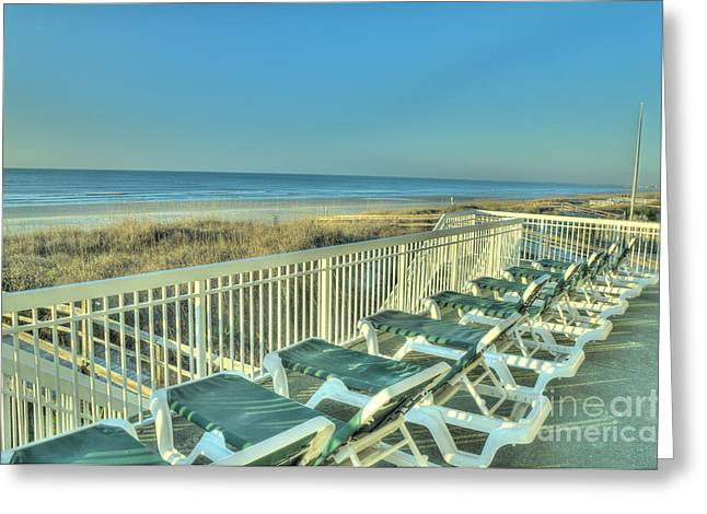 Lounge Chairs Overlooking Beach Greeting Card