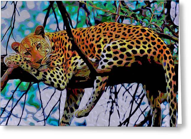 Loungin' Leopard Greeting Card by  Fli Art