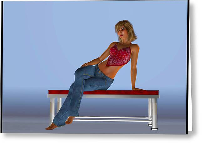 Lounging On A Bench... Greeting Card