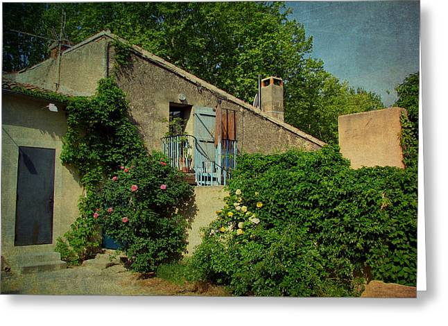 Lourmarin Cottage Greeting Card by Carla Parris