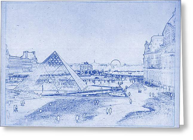 Louvre And Paris Skyline Blueprint Greeting Card by Kaleidoscopik Photography