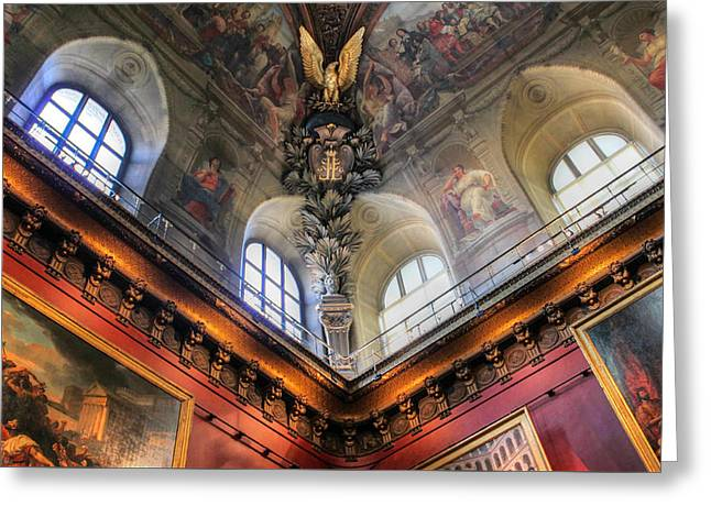 Greeting Card featuring the photograph Louvre Ceiling by Glenn DiPaola