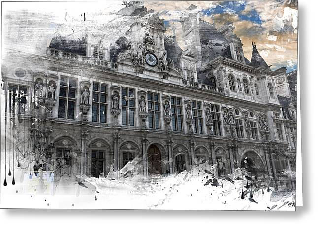 Louvre In A Splash Greeting Card by Evie Carrier
