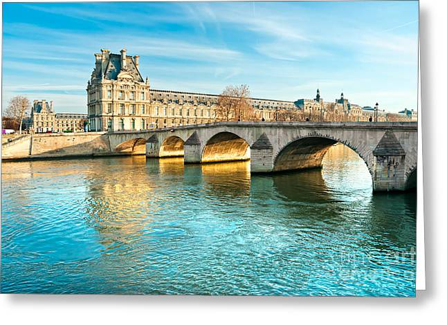 Louvre Museum And Pont Royal - Paris  Greeting Card