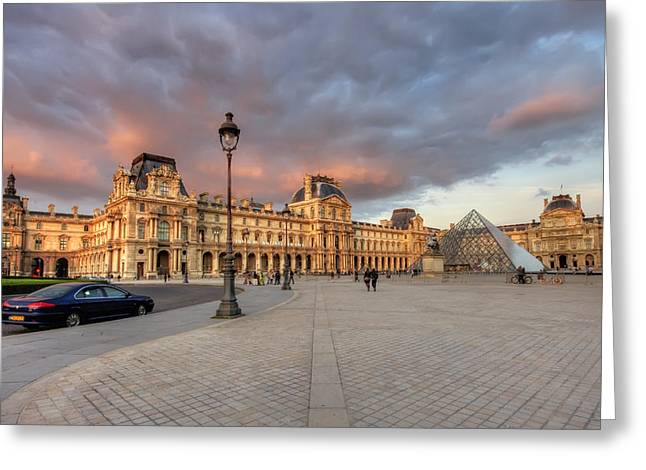 Louvre Museum At Sunset Greeting Card by Ioan Panaite