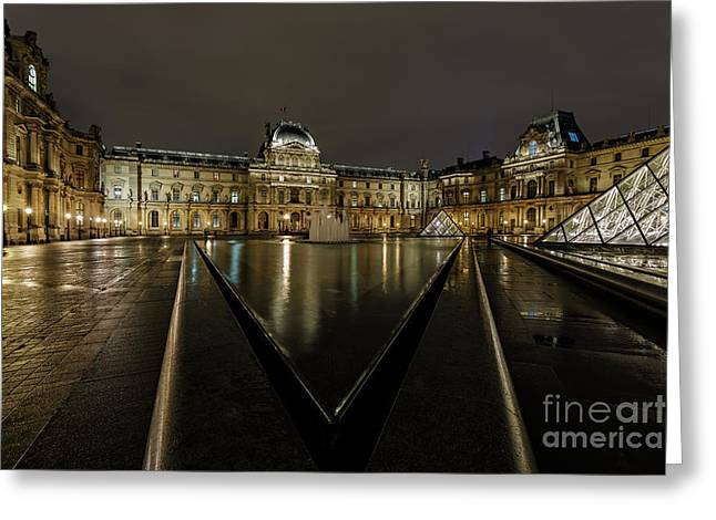 Louvre Pyramid And Pavillon Richelieu Greeting Card by Rostislav Bychkov
