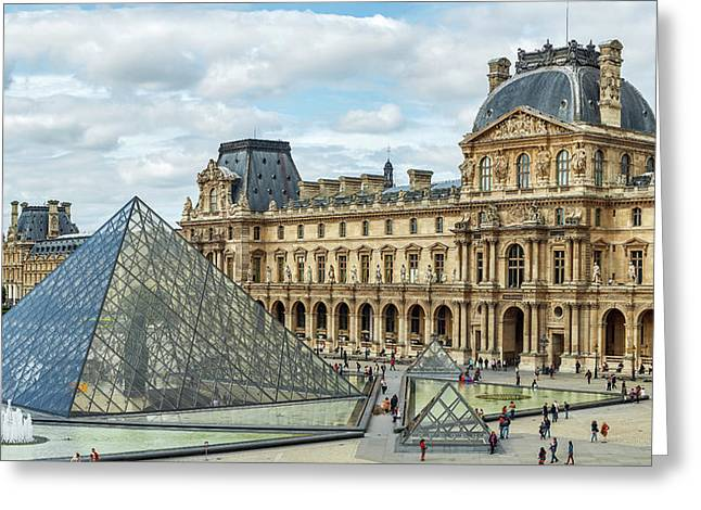 Louvre Pyramids And Buildings Greeting Card