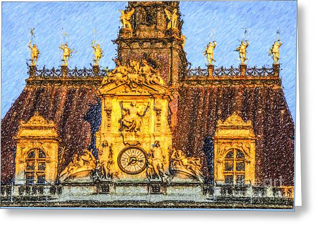 Louvre Roof Greeting Card by Liz Leyden