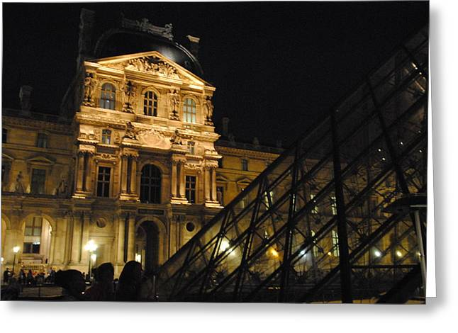 Louvre With Pyramid - Nite Greeting Card by Jacqueline M Lewis