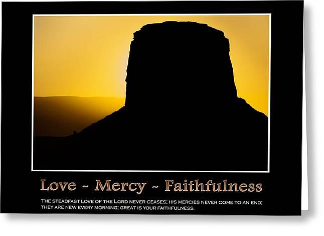 Love - Mercy - Faithfulness Inspirational Message Greeting Card