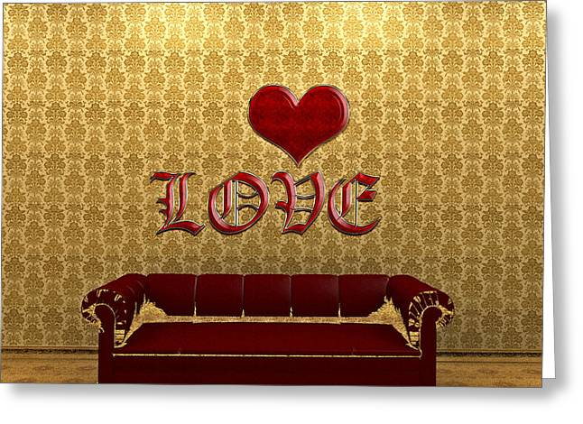 Love And Deep Red Sofa In A Gold Victorian Room Greeting Card by Beverly Claire Kaiya